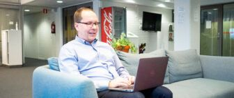 Marko Maunula working on his laptop