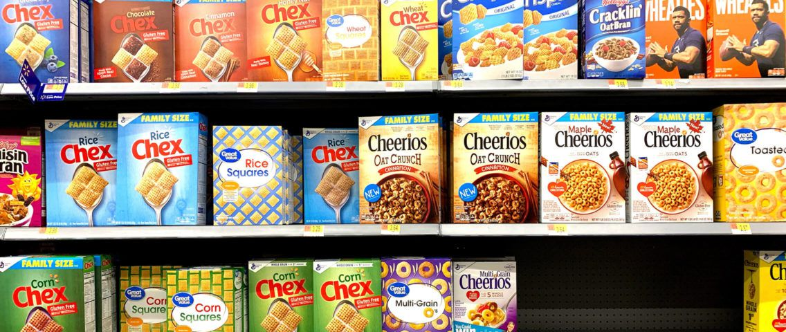 Cereal shelf at a grocery store